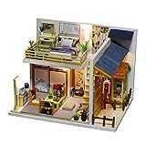 Hellery Casa de Muñecas en Miniatura con Muebles, Kit de Casa de Muñecas de Madera para Bricolaje con Cubierta, 1:24