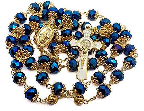 Nazareth Store - Rosario de San Benito Chapado en Oro Azul Profundo de 10 mm con Cuentas de Cristal de Virgen de Guadalupe Medalla de Cruz católica