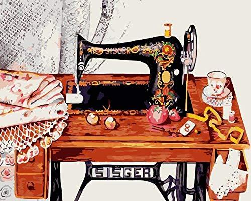 Zhonchng DIY olieverfschilderij op nummers, verf op nummer Kits - Naaimachine 16 * 20 Inch Digitale olieverfschilderij Canvas Wall Art Artwork Decor Gifts Zonder frame