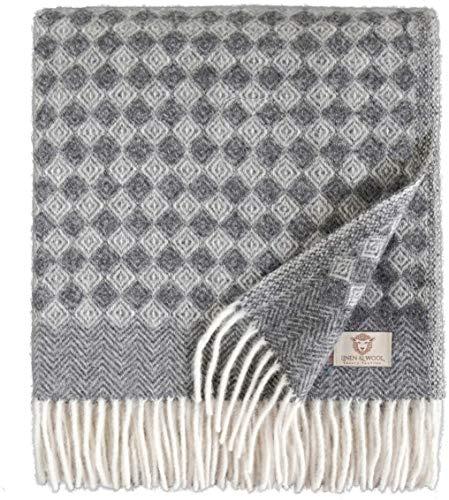 Linen & Cotton Warme Decke Wolldecke Wohndecke Kuscheldecke Paris mit Rautenmuster - 100% Reine Neuseeland Wolle, Anthrazit Grau (140 x 200 cm), Sofadecke/Tagesdecke/Überwurf/Plaid Sofa Schurwolle