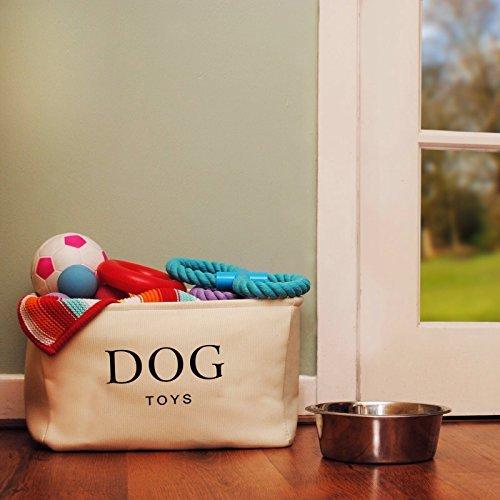 Hochwertiger Segeltuch-Korb für Hunde Spielzeug-Speicher – Sahnefarben-Kasten – 40cms x 30 cms x 25cms - 2