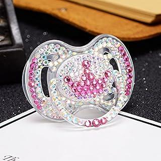 MIYOCAR beautiful bling bling MIYOCAR colorf bling bling pink crystal rhinestone pink crown Pacifier/ Nipples /Dummy /cocka /chupeta baby gift babyshower