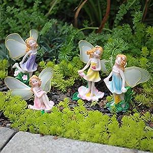 mibung 4pcs fairy garden fairies accessories miniature fairies figurines elf garden gnomes decor kit outdoor lawn bonsai tabletop house decoration gardening gift multicolor