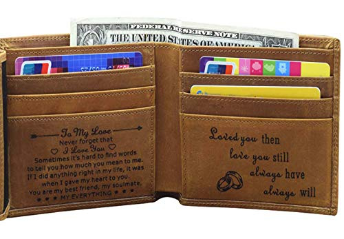 Engraved Mens Wallet Personalized Leather Wallet for Men Husband Dad Son Boyfriend Love Custom Gifts...
