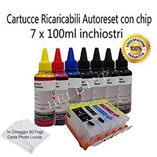 KIT 5 CARTUCCE RICARICABILI CON CHIP AUTORESET+ 7 X 100ML INCHIOSTRI DI RICARICA PER CANON CLI-8 / PGI-5 COMPATIBILE CON STAMPANTE Canon Pixma IP4200 / Pixma IP4300 / Pixma IP4500 / Pixma IP5200 / Pixma IP5200 R / PixmaIP5300 / Pixma IP6600 D / Pixma IP6660 D / Pixma IP6700D / Pixma MX850 / Pixma MP500 / Pixma MP530 / Pixma MP600 / Pixma MP600 R / Pixma MP610 / Pixma MP800 / Pixma MX700 , In Omaggio 50 Fogli Carta Lucida .
