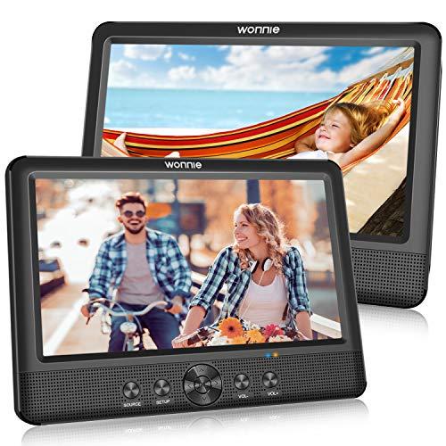 WONNIE 2 10.5 Zoll DVD Player Tragbare Auto Zwei Monitore Player mit Leistungsstarke Stereo Lautsprechern, 1024 * 600 HD Kopfstützenhalterung Dual Bildschirm, USB/SD/AV IN&Out(2 DVD-Spieler)…