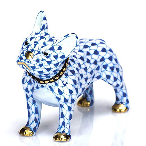 Herend Frenchie Puppy Dog Porcelain Figurine Sapphire Fishnet