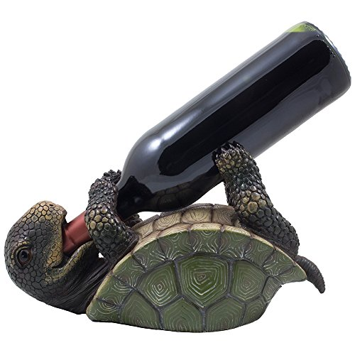 Drinking Turtle Wine Bottle Holder Statue As Decorative Tabletop Wine Racks and Display Stands for Nautical, Sea & Aquatic Home and Bar Décor or Unique Whimsical Gifts for Wine Lovers