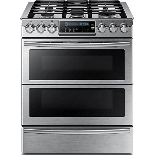 Samsung Appliance NY58J9850WS 30' Slide-in, Dual-Fuel Range with 5 Gas Burners in Stainless Steel