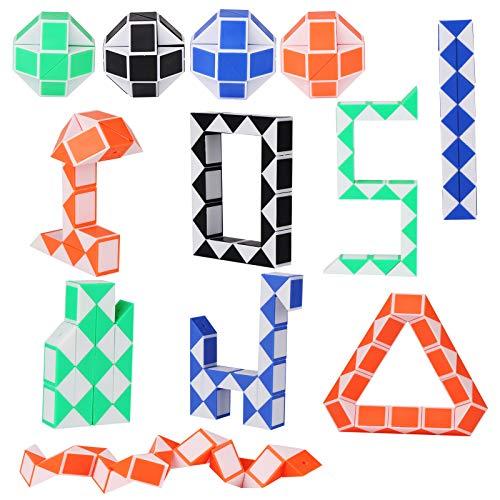 12 Piezas de Mini Serpiente de Cubo de 24 Bloques, Mini Speed Cubes, Mini Cubos de Serpiente, Snake Twist Toys Juguete para Relleno de Bolsa de Fiesta de Niños, Favores de Fiesta, Color Aleatorio