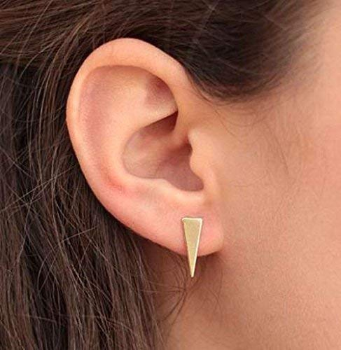FREE SHIPPING 14k Weekly update Los Angeles Mall Solid Gold Studs Geometric St Triangle