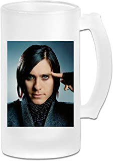 Printed 16oz Frosted Glass Beer Stein Mug Cup - Jared Leto Poster - Graphic Mug