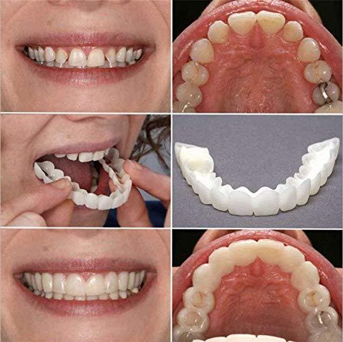 Ulat 4 PCS/2 Set Silicone Dentier Haut et Bas Sourire Parfait pour Homme et Femme Amovible Naturel Fausse Dents Provisoire Facette Dentaire pour Blanchiment des
