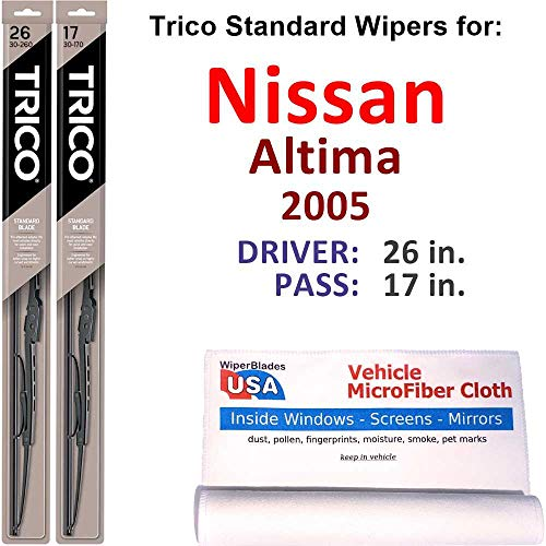 Wiper Blades Set for 2005 Nissan Altima Driver/Pass Trico Steel Wipers Set of 2 Bundled with MicroFiber Interior Car Cloth