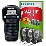 DYMO LabelManager160 Tragbares Beschriftungsgerät Starter-Set | Etikettiergerät mit QWERTZ Tastatur | mit 3Rollen DYMO D1-Beschriftungsband | ideal für's Büro oder für Zuhause