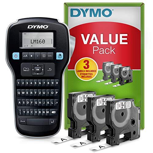 Dymo LabelManager160-Beschriftungsgerät, Starter-Set | tragbares Beschriftungsgerät | mit 3Rollen Dymo D1-Beschriftungsband | QWERTZ-Tastatur | ideal für\'s Büro oder für Zuhause