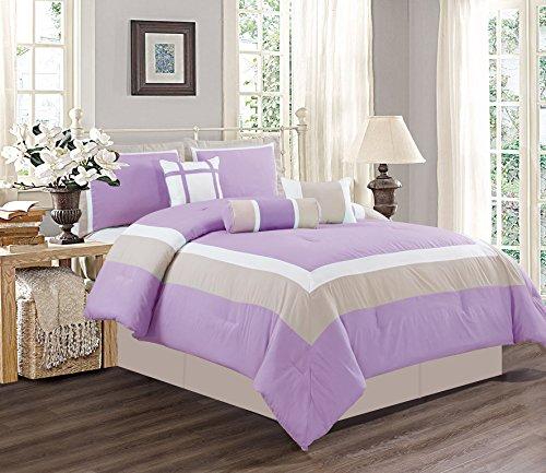 7piezas Reina tamaño LILA MORADO/BLANCO/GRIS Color bloque Milan ganso abajo edredón alternativo, 90'x 90Cama + Accent almohadas