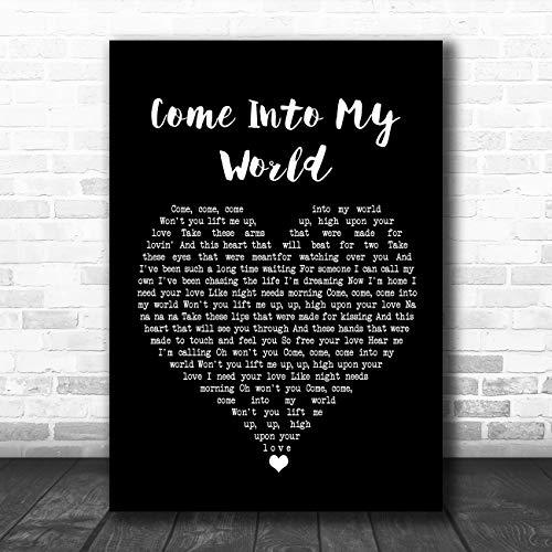 Kom in mijn wereld zwart hart lied lyrische citaat muziek poster print Large A3