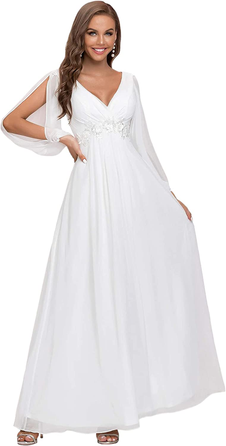 Ever-Pretty Women's A-line Long Sleeve V-Neck Chiffon Mother of The Bride Dress 0461