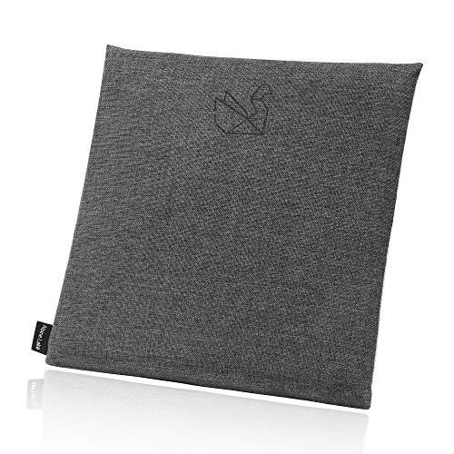 ALPINE LAKE Ultra Plush Memory Foam Seat Cushion Back Cushion - Home Office Dining Chair, Car Seat, Stool, Floor, Meditation - Natural Hemp Fabric Cover - Ergonomics, Eco Friendly - Square, Grey