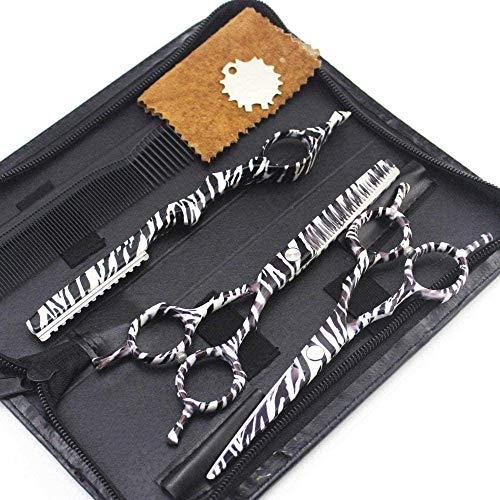 HZWLF Ciseaux de Coiffure Ciseaux de Coiffeur Set 5.5 Pouces Zebra Pattern Set Cutting Thinning + Bag + Scraper Styling Tools
