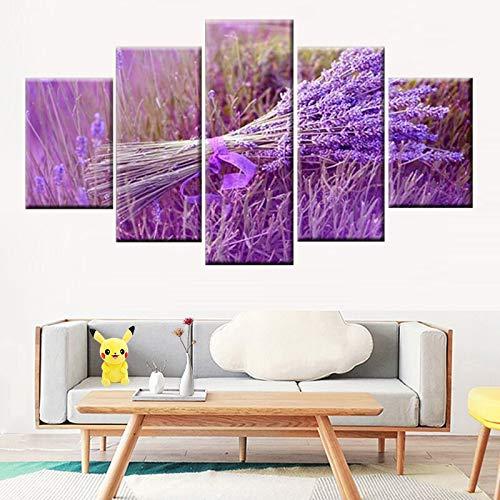 Moderner HD-Druck 5 Stück Lila Lavendel Blumenstrauß Poster Kunst Leinwand Wanddekoration,Rahmenlose Malerei,30x40cmx2, 30x60cmx2, 30x80cmx1
