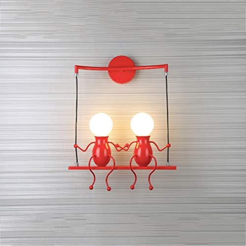 WZM Hermosa Creativo Lámpara de Pared E27 Humanoide Moderno Apliques de Pared para Dormitorio Cocina Restaurante Robusto (Color : Red)