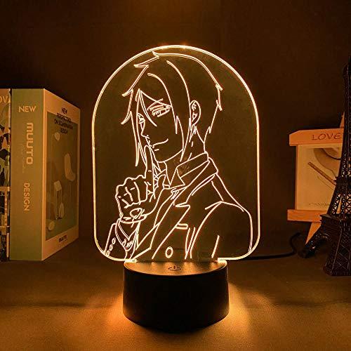 Lámpara De Ilusión 3D Luz De Noche LED Piloto negro 7 colores para regalo de decoración de dormitorio Es un regalo creativo para niños y niñas para Navidad