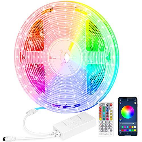 TV Hintergrundbeleuchtung LED Streifen 5m, StillCool RGB Strip mit Bluetooth Steuerung und Fernbedienung, SMD5050 Band Sync Musik mit Netzteil & Timer geeignet für Schlafzimmer, Küche, Party, Leiste