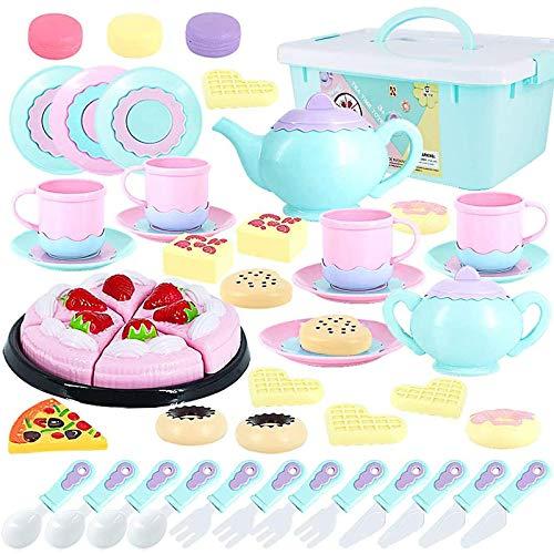 Tagitary Spielzeug-Teeset, 50-teilig, Party-Spielnahrung für Kinder, Party-Schneid-Spielzeug, Lern-Küche, Essen, Spiel…