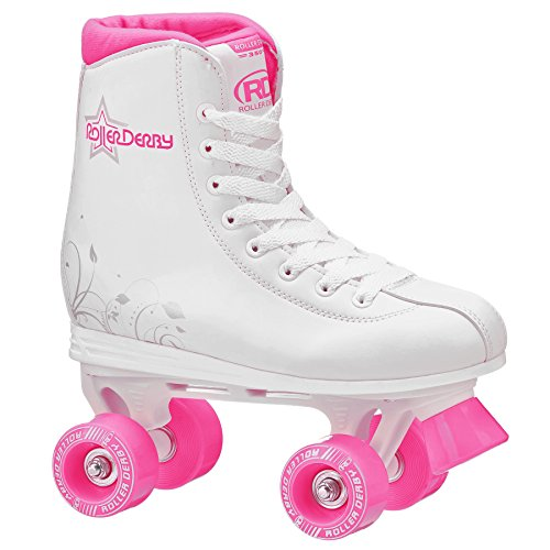 Image of Roller Derby U324G-06 Girls Roller Star 350 Quad Skate, Size 06, White/Pink