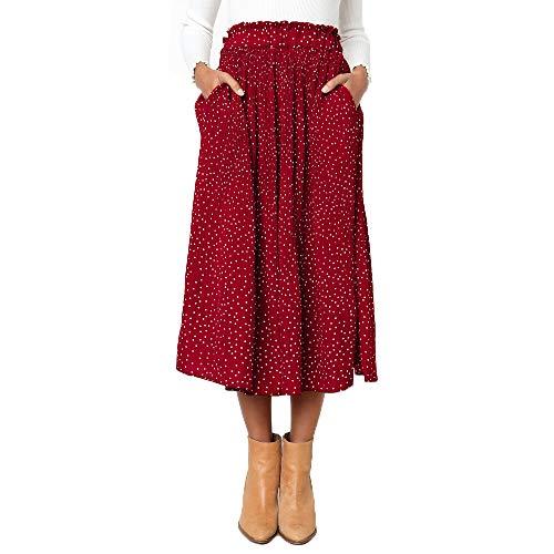 Exlura Womens High Waist Polka Dot Pleated Skirt Midi Swing Skirt with Pockets Red Large