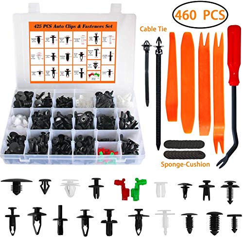 Car Mounting Clips Set Door Panel Plastic Mounting Set Clips Bumper Attachment 460 Pieces Clips With 4 Disassembly Tools 10 Cable Bundles with 1 Release Tool