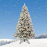 ZRXRY Árbol de Navidad Cubierto de Nieve de 7 pies, árbol de Navidad Artificial con bisagras de Primera Calidad con Luces LED y Rama de PVC 800, Base de Metal Reforzado y fácil Montaje,5FT