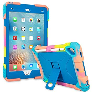 ACEGUARDER iPad 9.7 Case 2018 iPad 6th Generation Case/2017 iPad 5th Generation Case/iPad Air 2 Kids Case Shockproof Heavy Duty Silicone Protective Cover with Kickstand  Ice Cream/Blue