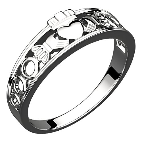 GWG Jewellery Anillos Mujer Regalo Anillo de Claddagh Plata de Ley Dos Manos Que Rodean Corazón con Corona de Diseño Semi-Cubierto - 7 para Mujeres