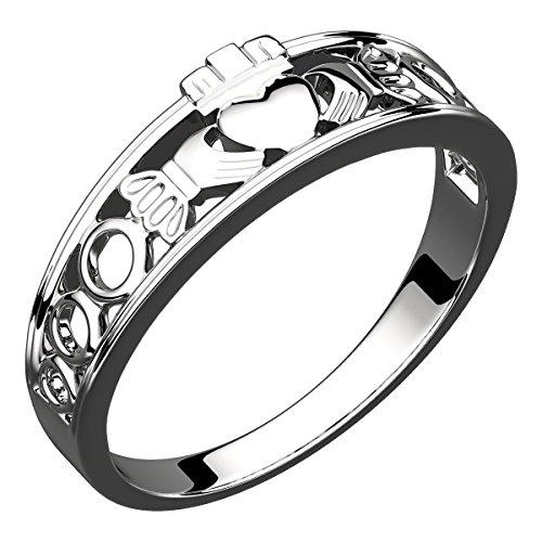 GWG Jewellery Anelli Donna Regalo Anello Argento Sterling Fascia Claddagh - 5 per Donne