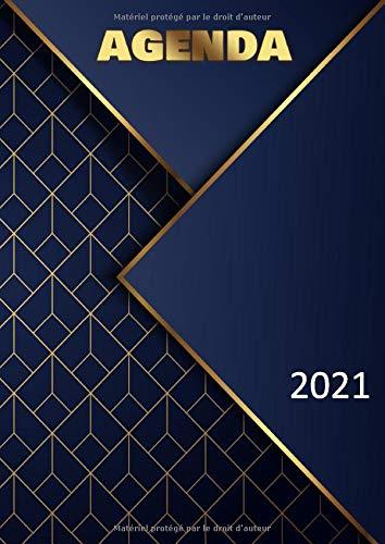Agenda 2021: semainier et calendrier de décembre 2020 à janvier 2022 - grand format A4 - motif abstrait bleu et doré