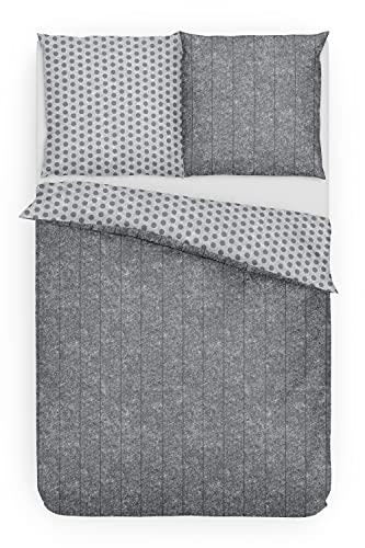 Träumschön Bettwäsche gestreift 155x220 cm | Fein Biber Bettwäsche Punkte | Bettwäsche 155x220 Grau | Wendebettwäsche aus 100% Baumwolle