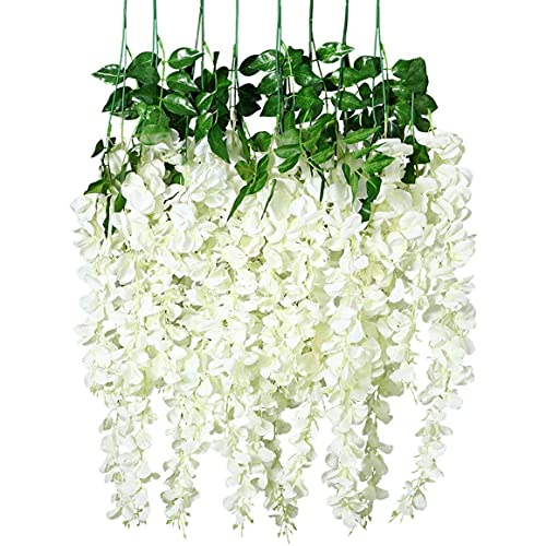 YGXR Living room tabletop fake flower plants, 12 packs of artificial wisteria vines fake wisteria hanging garland silk long hanging bush flower string family party wedding decoration home decoration