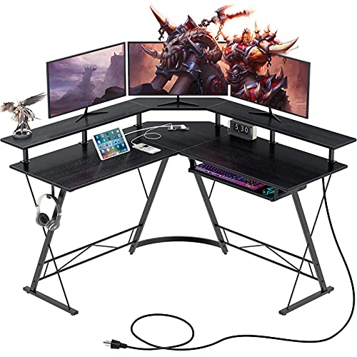 """Rolanstar Computer Desk L Shaped with Power Outlet, 54"""" L Shaped Gaming Corner Desk with Monitor Standand Keyboard Tray, Home Office Gaming Desk with USB Port&Hook, Black"""