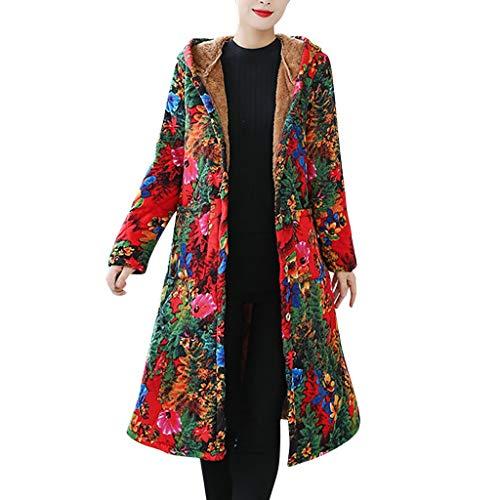 Xmiral Mantel Damen Gedruckte Retro Nationaler Stil Jacke Langer Dick Trenchcoat Slim Fit Winter Warm Übergröße Outwear Steppjacke(b Rot,XXL)