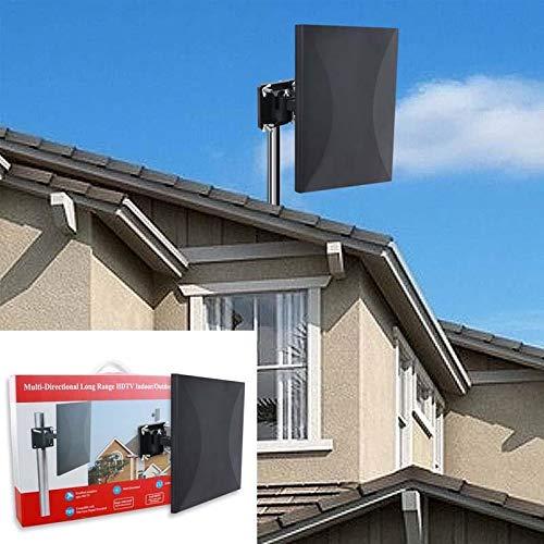 Antenne TNT Extérieure Antenne TV extérieure/intérieure 160 KM Réception, Câble coaxial de 10m, Revêtement Anti-UV, Etanche et au Design Compact