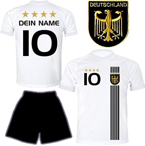 DE FANSHOP Deutschland Trikot mit Hose & GRATIS Wunschname + Nummer #D5 2021 2022 EM/WM Weiss - Geschenk für Kinder Jungen Baby Fußball T-Shirt personalisiert