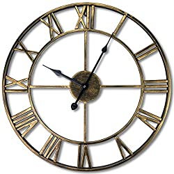 Evursua 24 inch Large Home Decor Wall Clock for Living Room Non Ticking Iron Art Clocks Roman Numeral,Retro Distressed Metal,Oversized (Gold)
