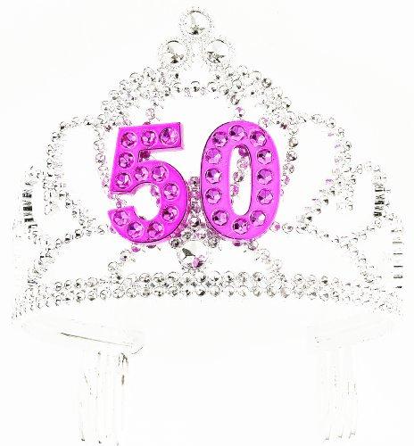 Forum Novelties womens Novelty Happy Birthday 50th Silver Pink Tiara, Birthday, One Size US