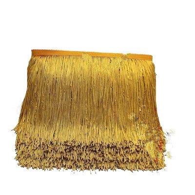 Yalulu 10 Meter Länge 15cm Breite Quaste Seidig Fransen Geschnitten Fransenborte Kostüm Quaste trimmen Garment Apparel Spitzenborte Nähzubehör (Gold)