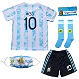 BIRDBOX 2021 Argentina Home Blue #10 Lionel Messi Kids Soccer Jersey & Shorts Set Youth Sizes (Blue, 26 (8-9 Years))