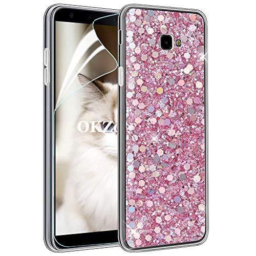 OKZone Cover Galaxy J4 Plus 2018 [con Pellicola Proteggi Schermo], Custodia con Brillantini Ultra Sottile Design Case di Alta qualità in Silicone TPU Bumper Cover per Galaxy J4 Plus 2018 (Rosa)