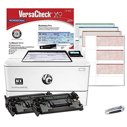 VersaCheck HP Laserjet M404 MX MICR Check Printer and VersaCheck Professional Check Printing Software Bundle, White (M404MX) (M404dn MX)